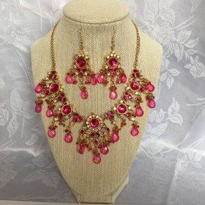 Jewelry - Statement Necklace and Earrings Hot Pink Set